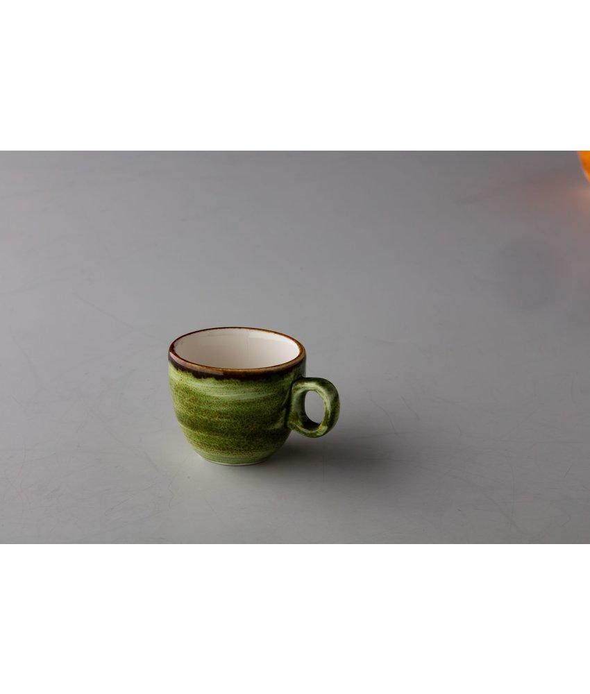 Q Authentic Jersey Espresso kop stapelbaar groen 80 ml (  6 stuks)