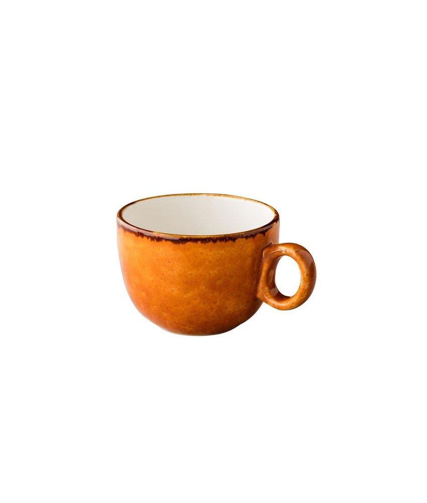 Q Authentic Jersey Latte koffiekop stapelbaar oranje 350 ml (6 stuks)