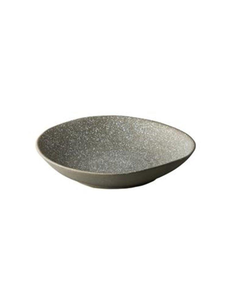 Q Raw Chameleon diep bord grijs met witte spikkels 24cm ( 4 stuks)