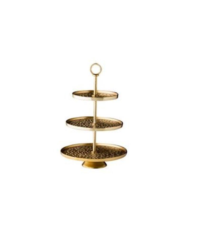 Coffeepoint Gouden etagère 3-laags Ø 30/25/20cm x 47 cm