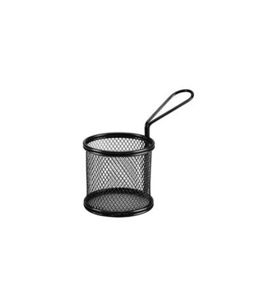 Stylepoint Draadmandje zwart rond Ø 9,2 x 8,5 cm met handvat ( 24 stuks)