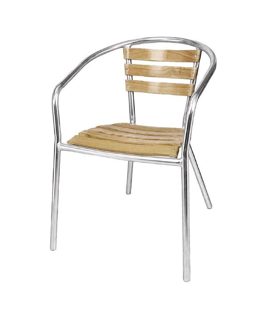 Bolero Bolero aluminium en essenhouten stoel 73cm (4 stuks) 4 stuks