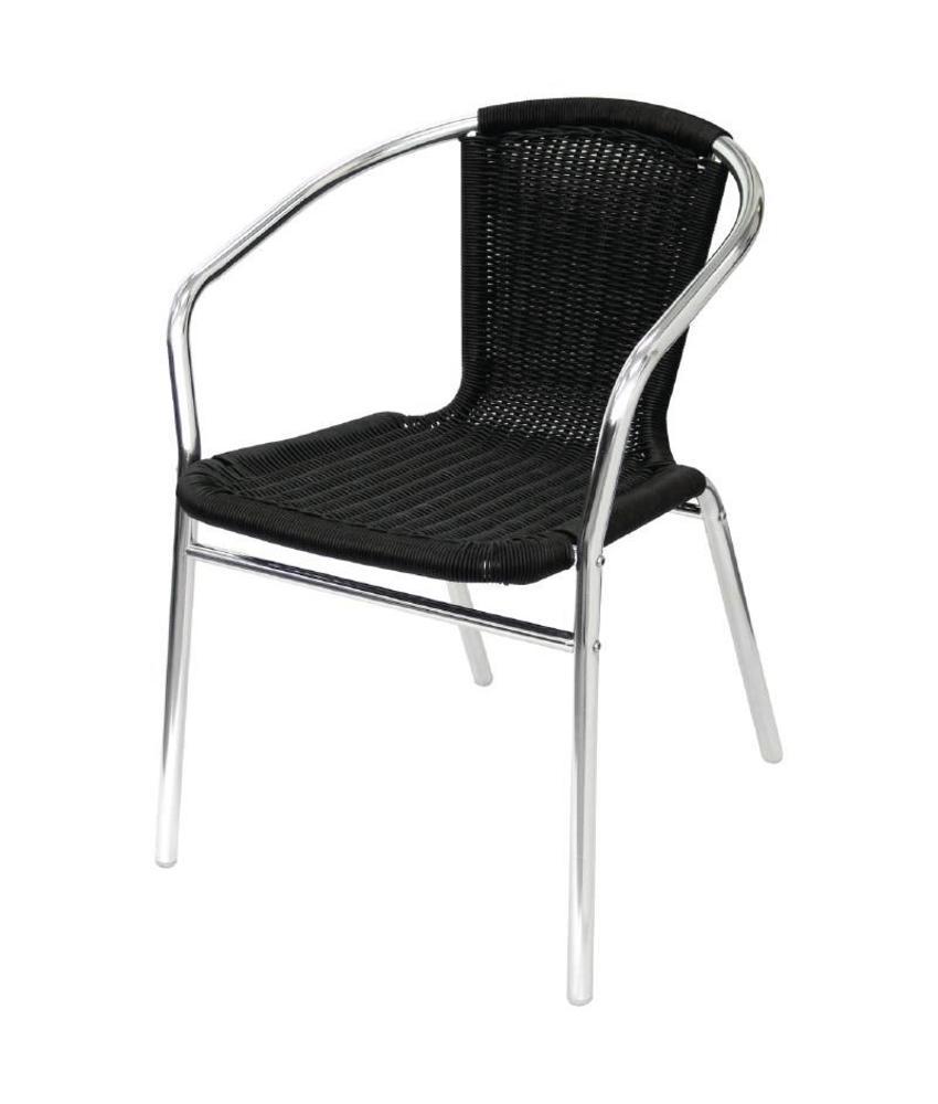 Bolero Bolero aluminium en rotan stoel zwart 4 stuks