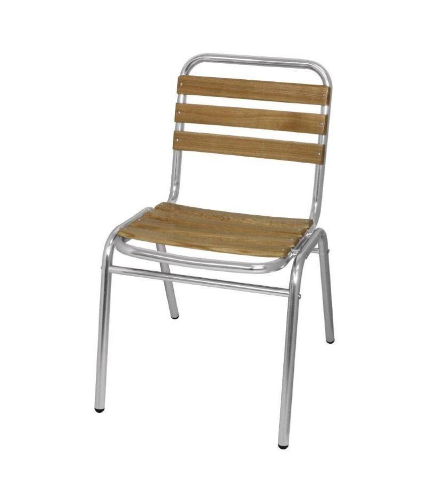 Bolero Bolero aluminium en essenhouten stoel (4 stuks) 4 stuks