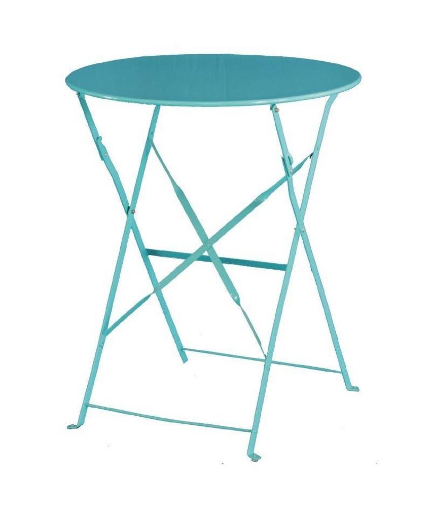 Bolero Bolero ronde stalen opklapbare tafel turquoise 59,5cm