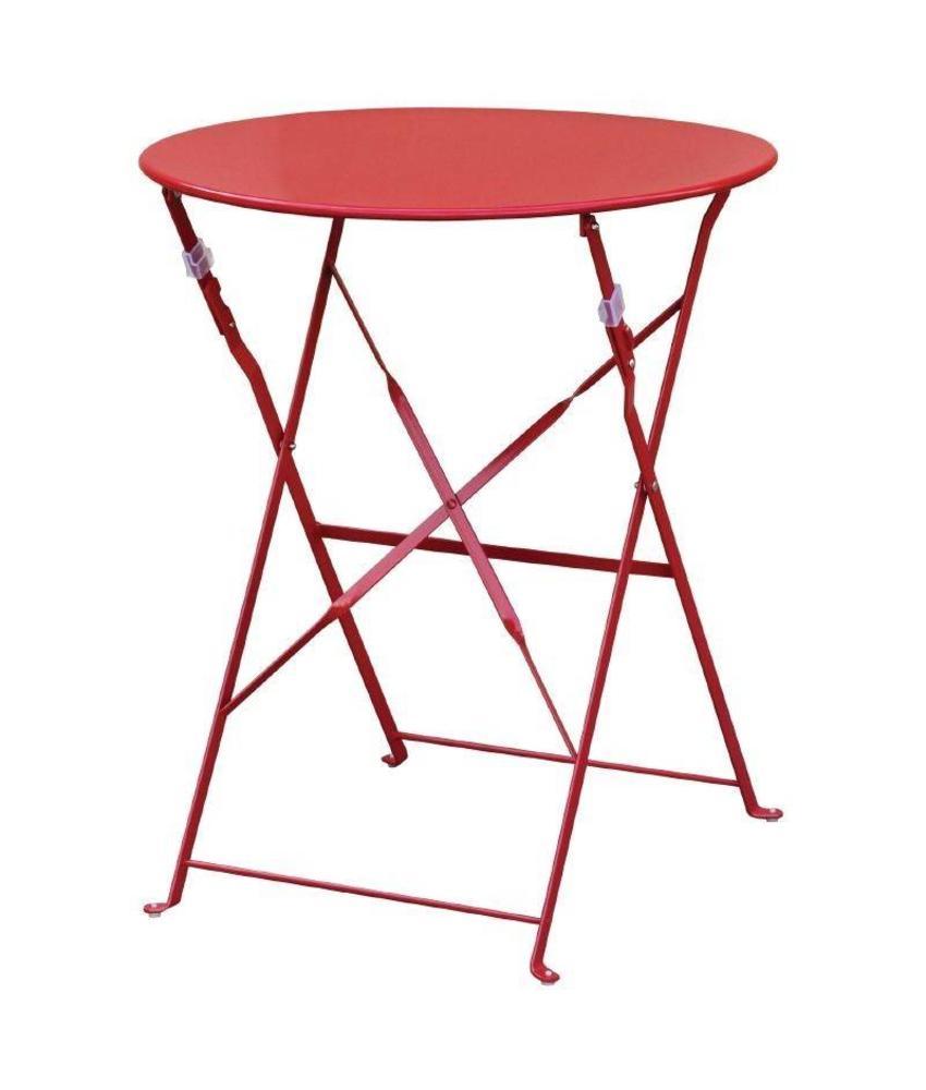 Bolero Bolero ronde stalen opklapbare tafel rood 59,5cm