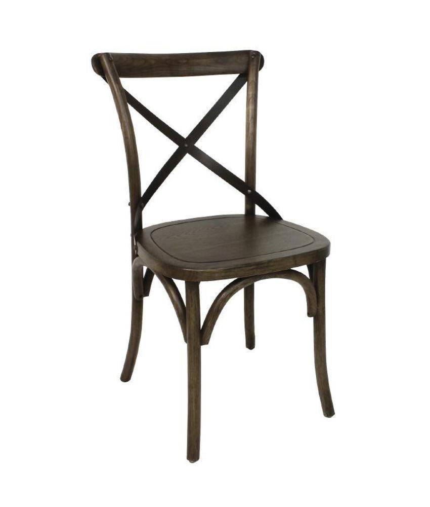 Bolero houten stoel met gekruiste rugleuning walnoot (2 stuks) 2 stuks