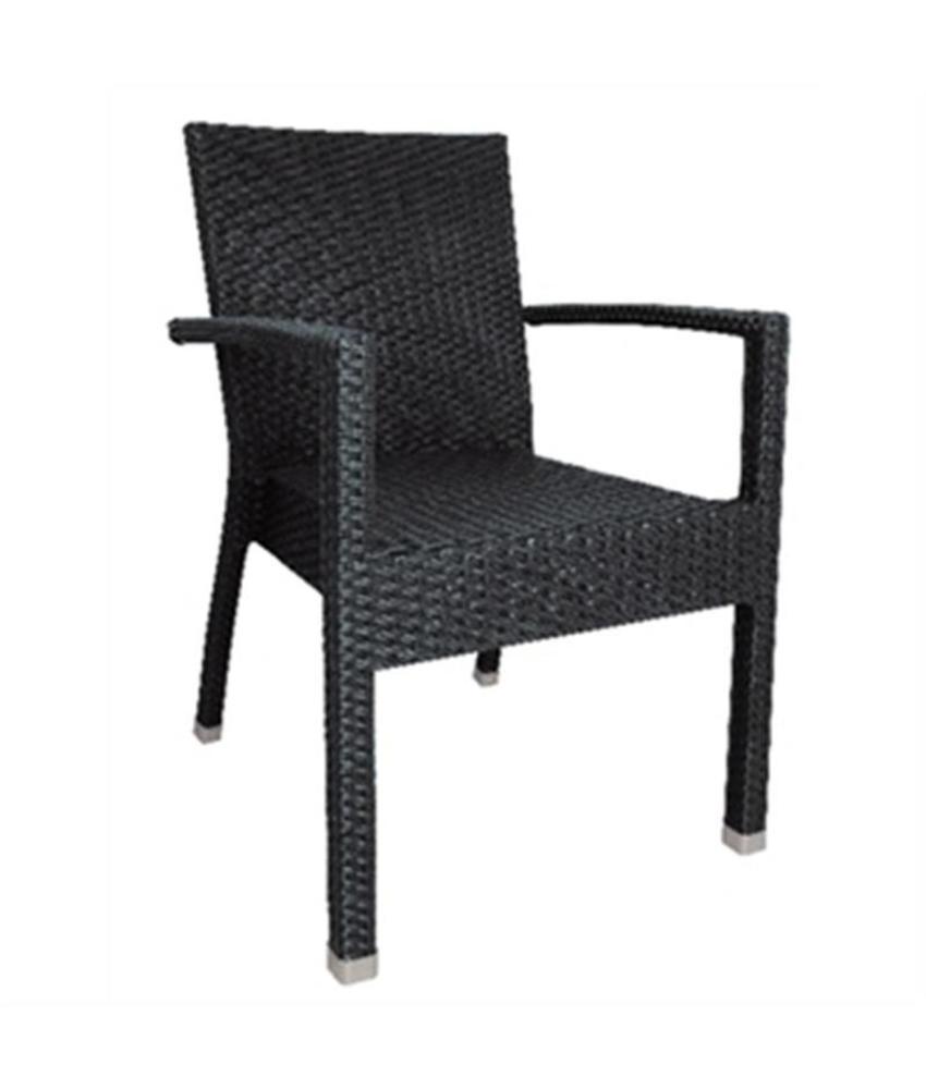 Bolero Bolero kunststof rotan stoel met armleuning antraciet 4 stuks