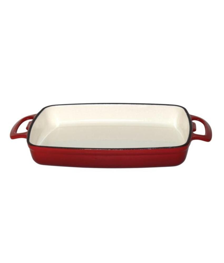 Vogue Vogue rechthoekige gietijzeren ovenschaal 1,8L rood