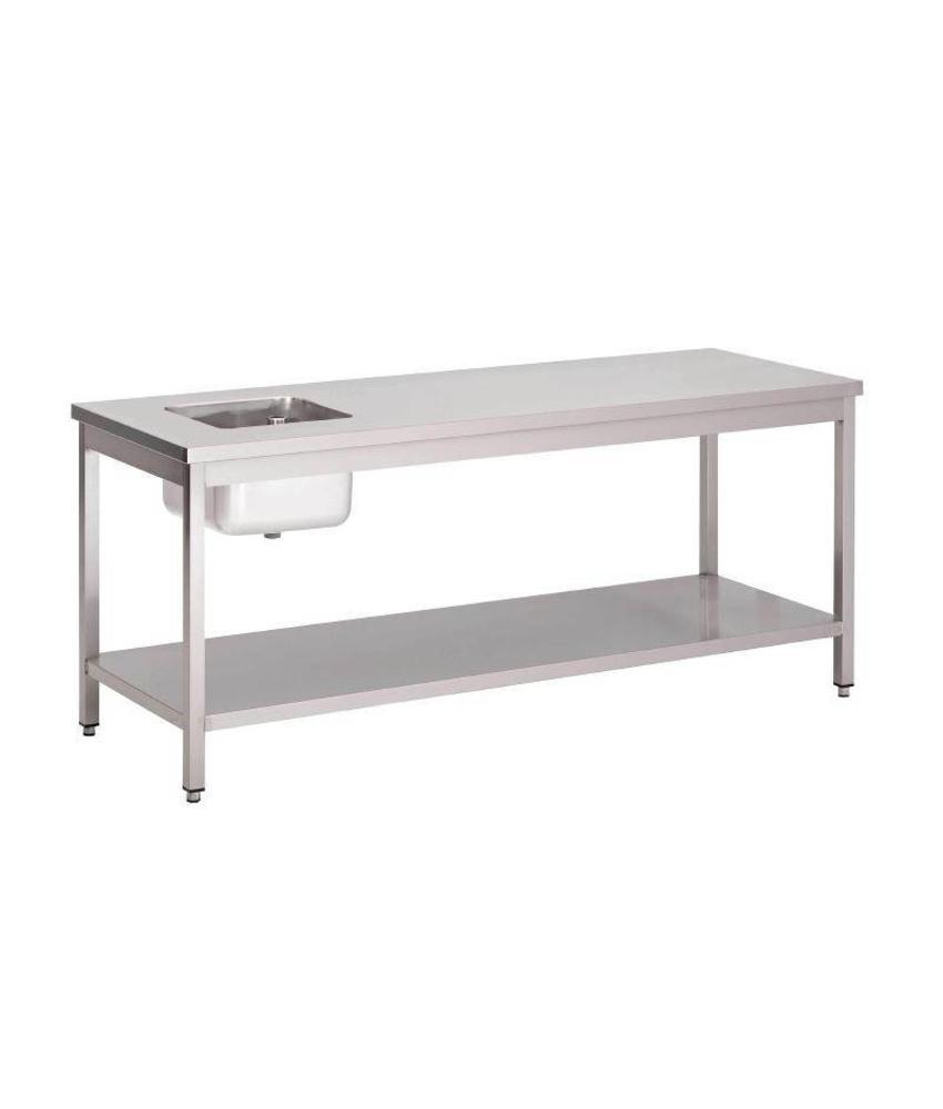 Gastro M Gastro M RVS cheftafel met onderblad 200x70x85cm