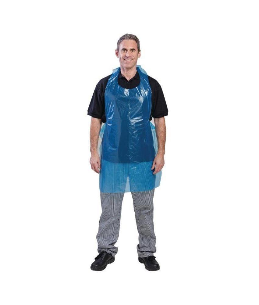 Disposable polyethyleen halterschorten blauw 100 stuks