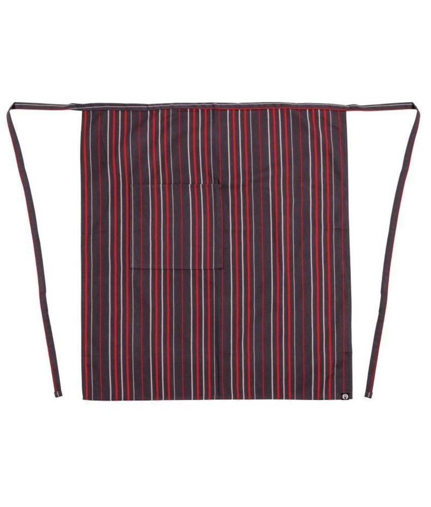 Chef Works bistrosloof 81x71cm grijs/wit/rood
