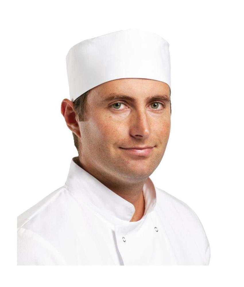 WHITES CHEFS APPAREL Whites skull cap wit M