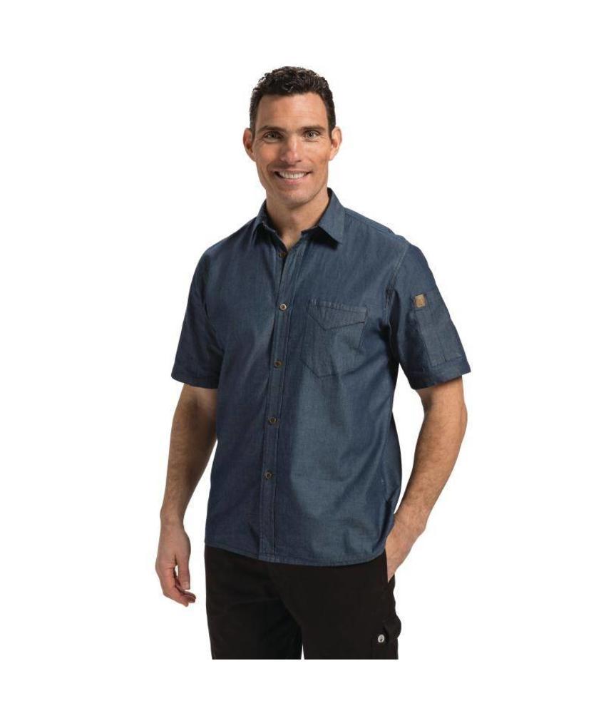 Chef Works Detroit blauwe denim shirts korte mouw
