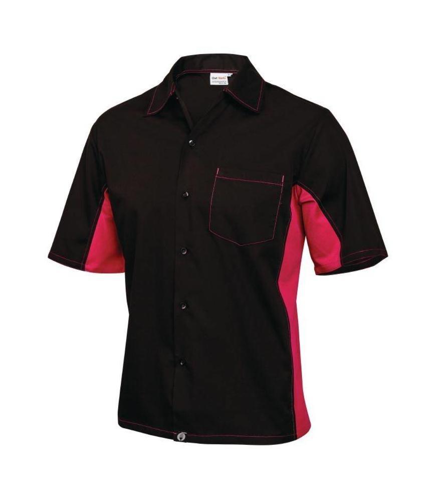 Chef Works Cool Vent contrast shirts zwart & bessen