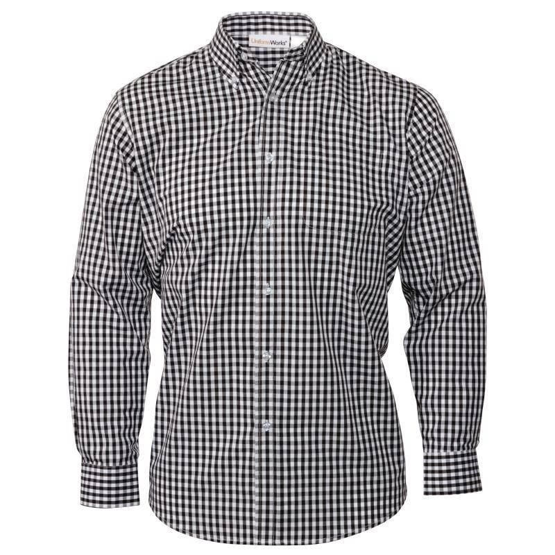 Overhemd Zwart Heren.Uniform Works Heren Gingham Overhemd Zwart V Supply