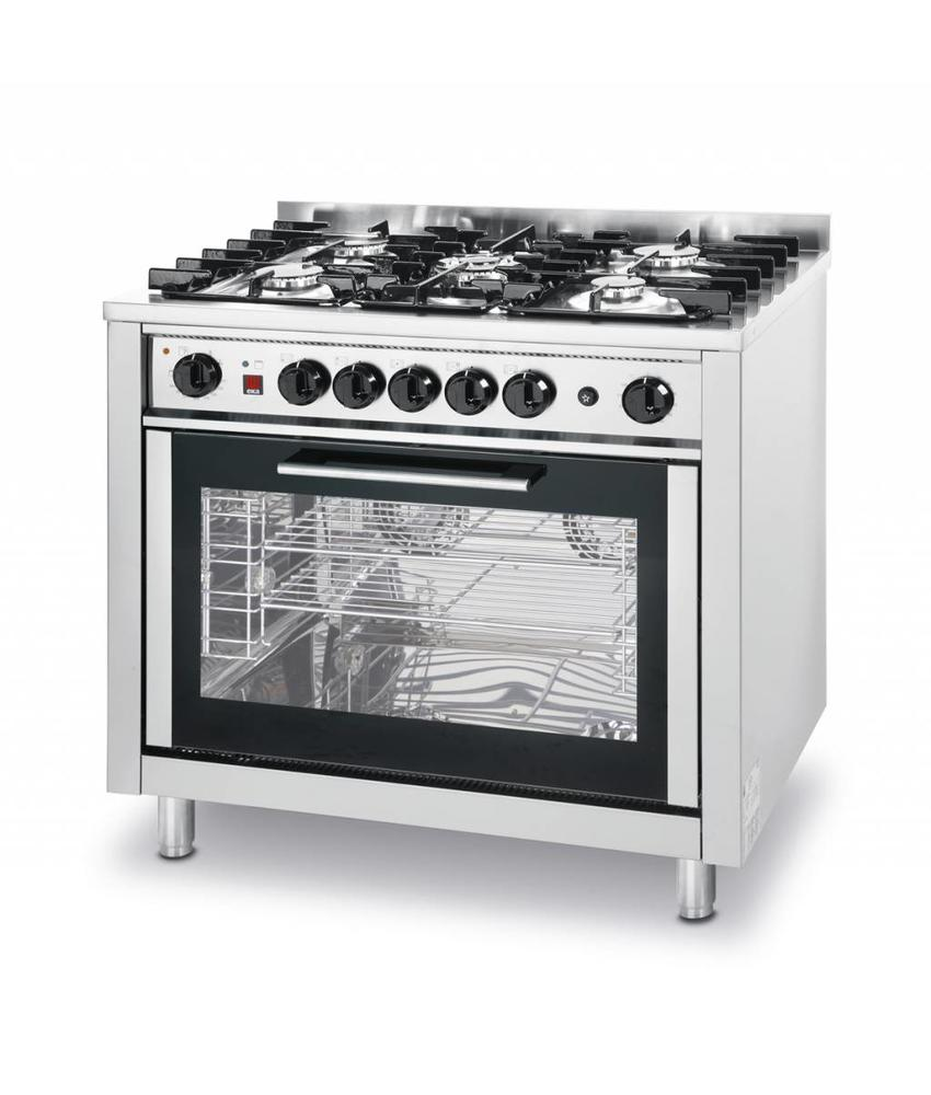Hendi Gasfornuis 5-pits KCV96P met elektrische oven GN 1/1