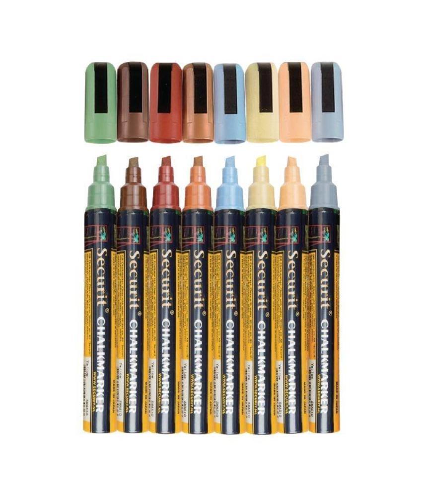 Securit Securit vloeibare krijtstiften in aardetinten 2x6mm 8 stuks