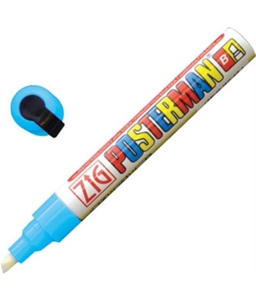 Securit Zig Posterman weerbestendige krijtstiften licht blauw 6mm