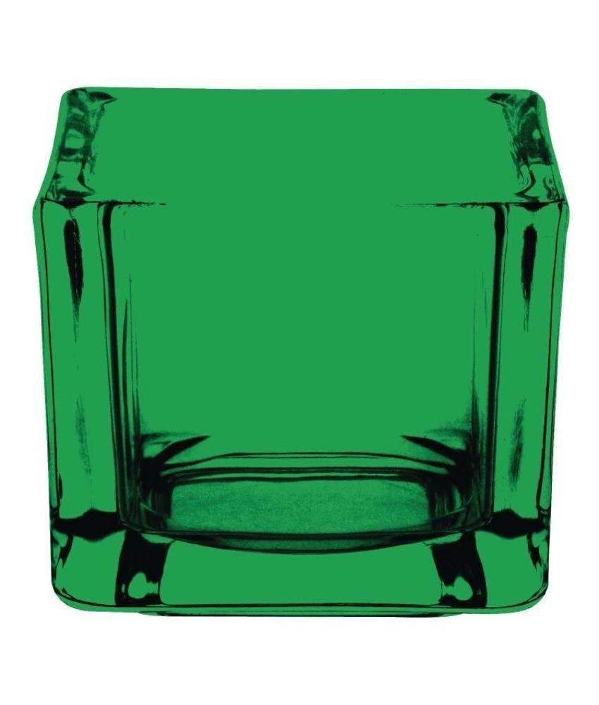 Olympia Olympia glazen theelichthouder vierkant groen 6 stuks
