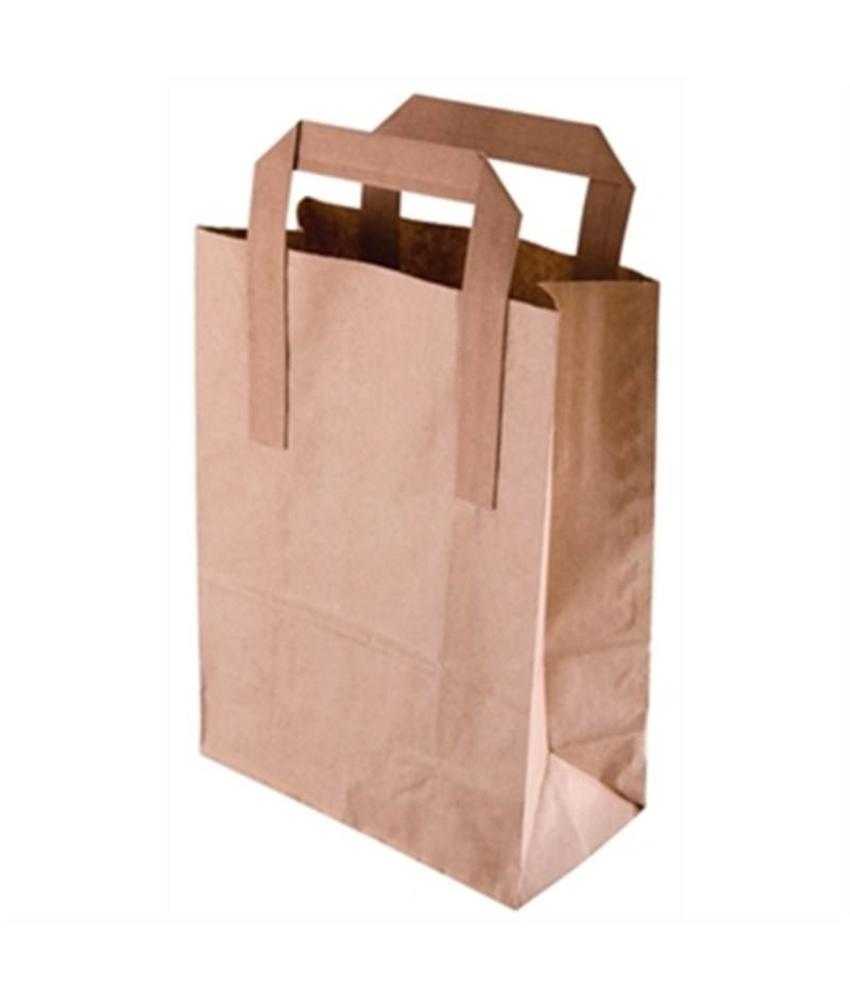 Fiesta Bruine papieren draagzak recyclebaar groot 250 stuks