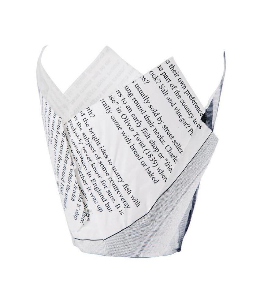Friteszak krantenpapier opdruk 1100 stuks