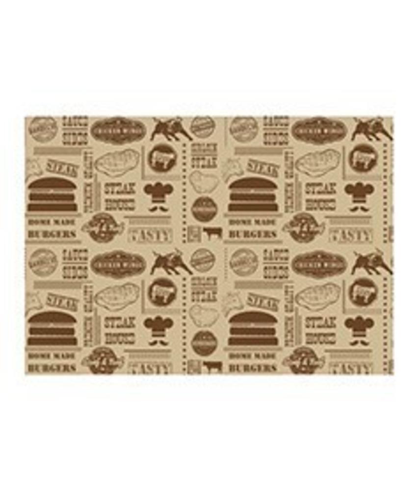 Stylepoint Vetvrij papier 'Steak House Design' 35x25cm 1000st