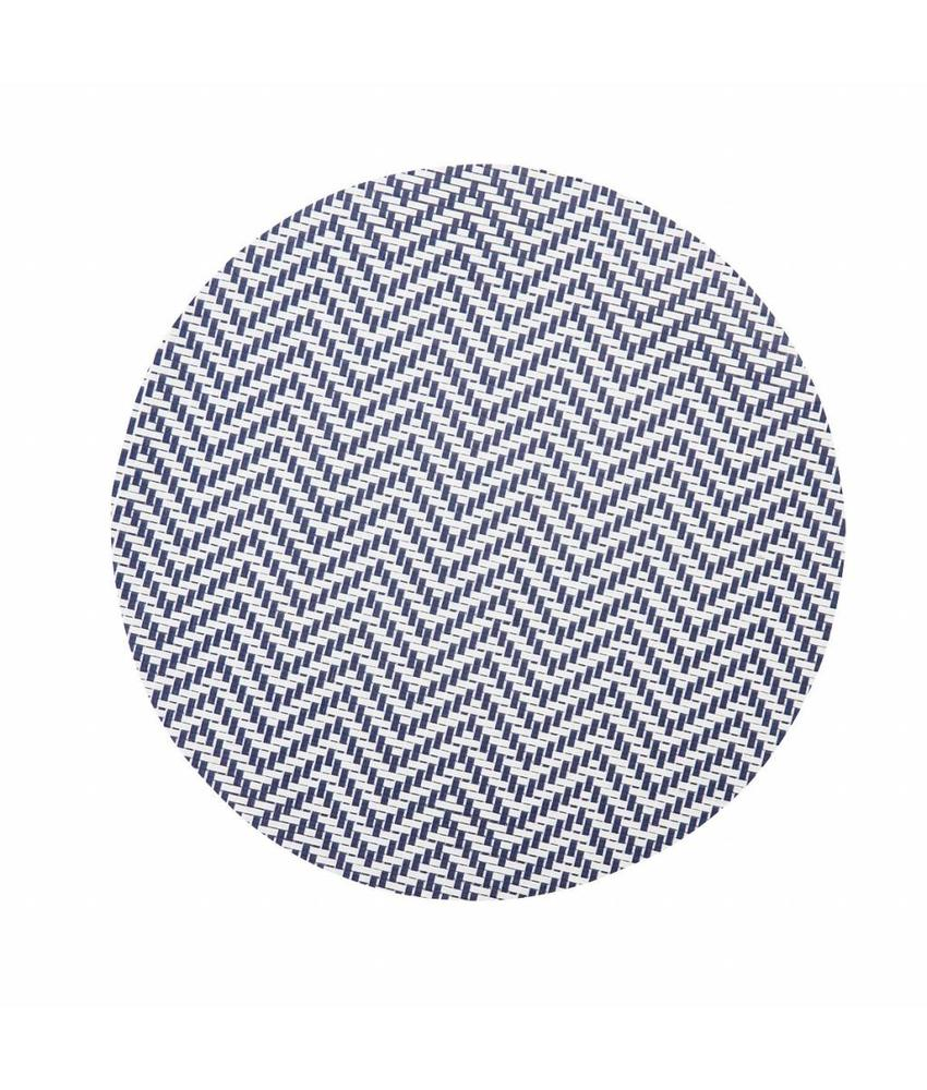 Stylepoint Placemat rond Wit/Blauw 38 cm 24 stuk(s)