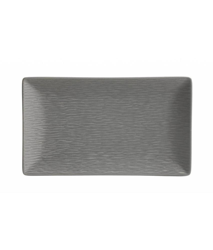 Stylepoint Aardewerk bord rechth. reliëf mat grijs 25 x 15 cm 6 stuk(s)