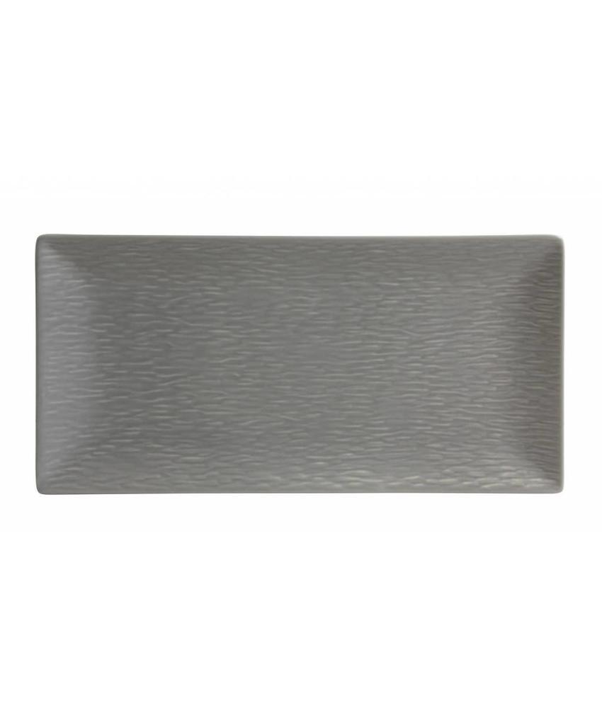 Stylepoint Aardewerk bord rechth. reliëf mat grijs 30 x 15 cm 6 stuk(s)