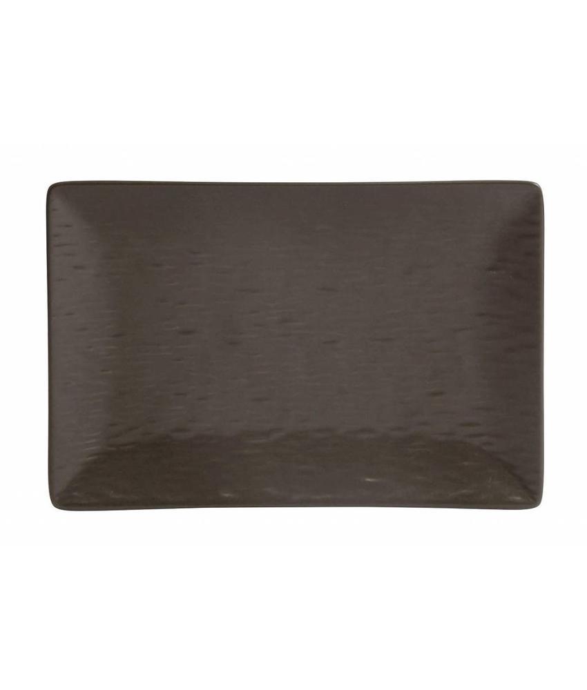 Stylepoint Aardewerk bord rechth. reliëf mat bruin 30 x 20 cm 12 stuk(s)