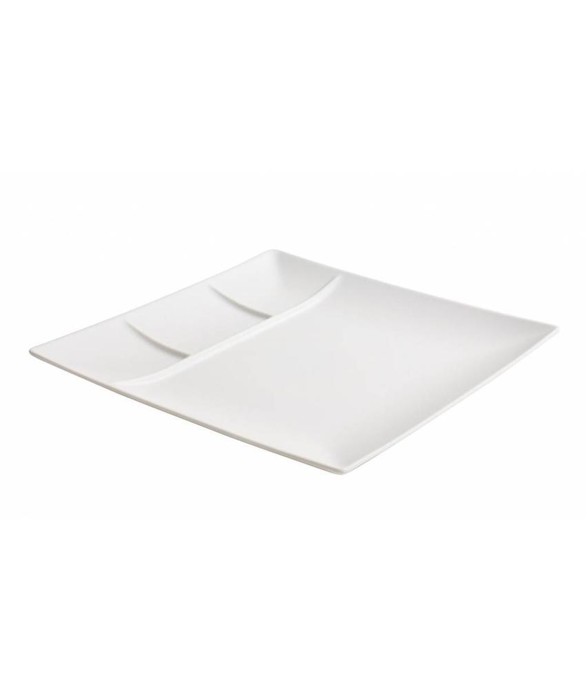 Stylepoint Aardewerk bord vierkant 4 compart. mat wit 26 cm 12 stuk(s)