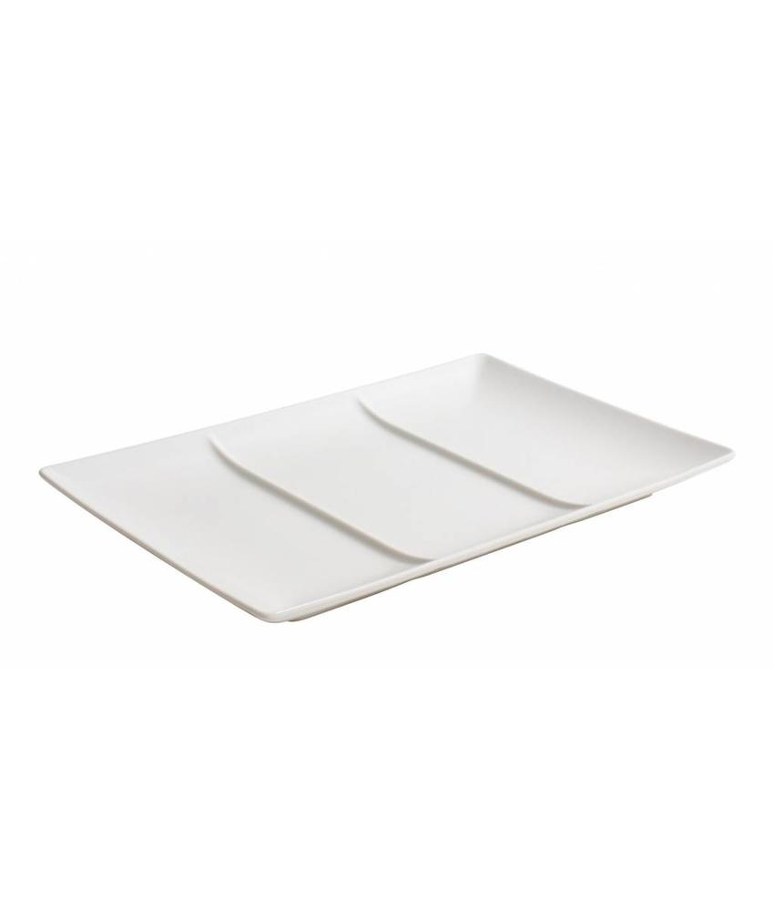 Stylepoint Aardewerk bord rechth. 3 compart. mat wit 30x20 cm 12 stuk(s)