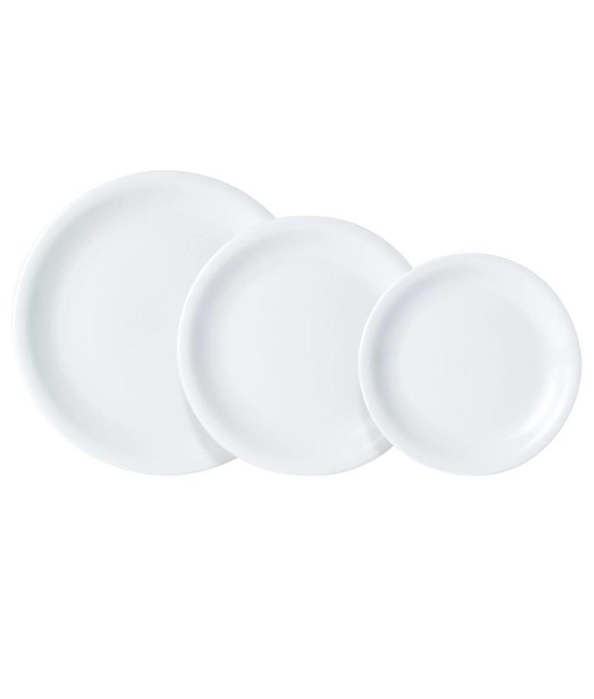 Porcelite Standard bord met smalle rand ( 6 stuks)