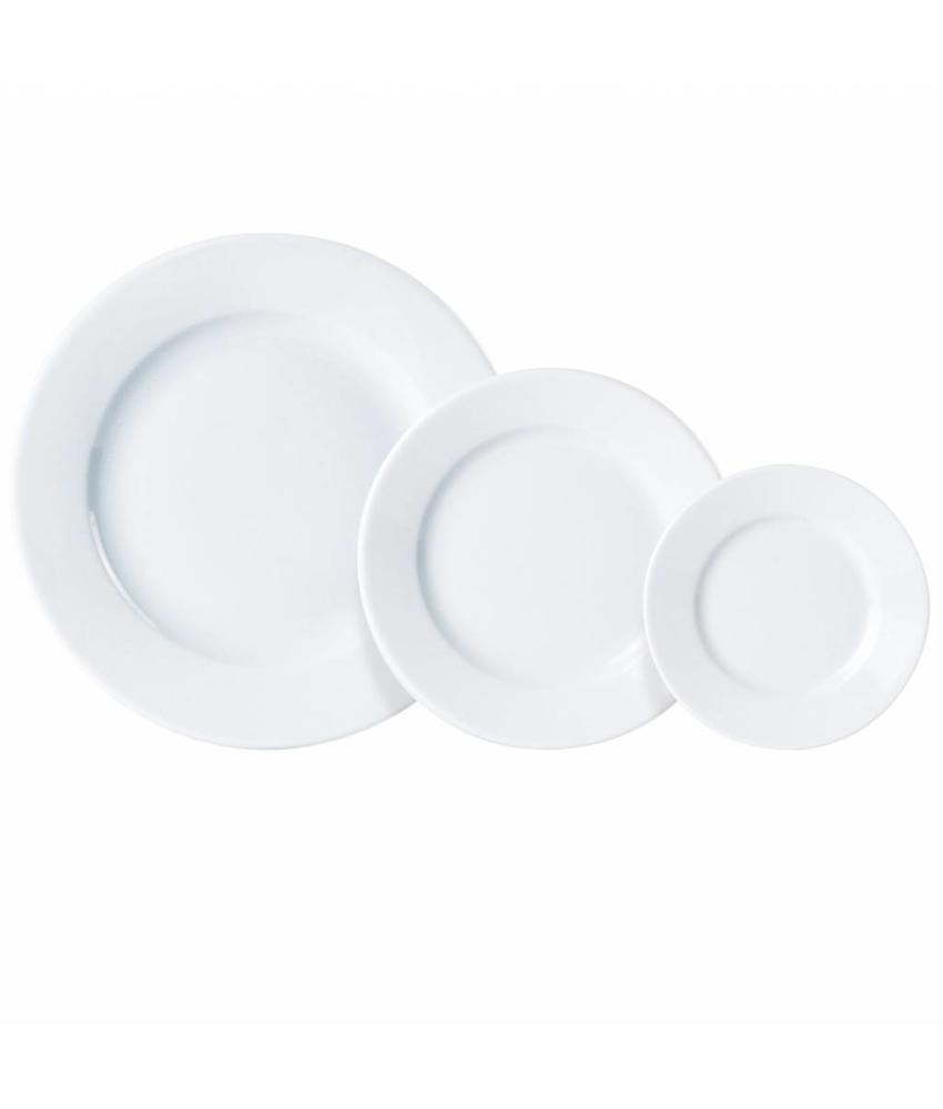 Porcelite Standard bord met brede rand 17 cm 6 stuks