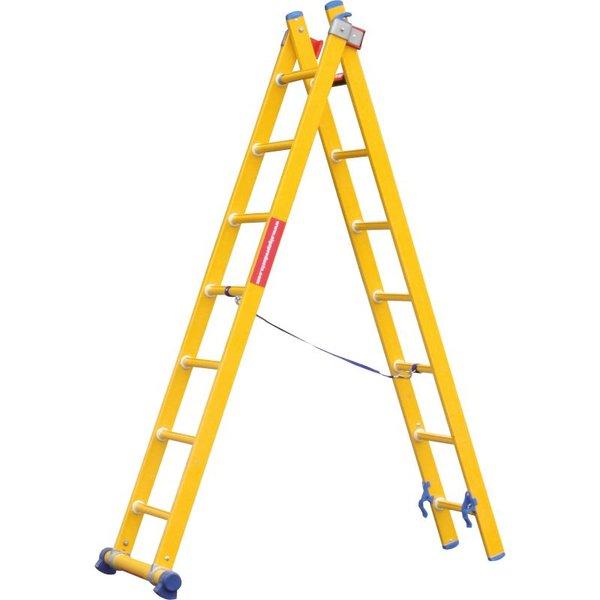 Kunststof ladder GVK 2x9 treden I 5.00 meter