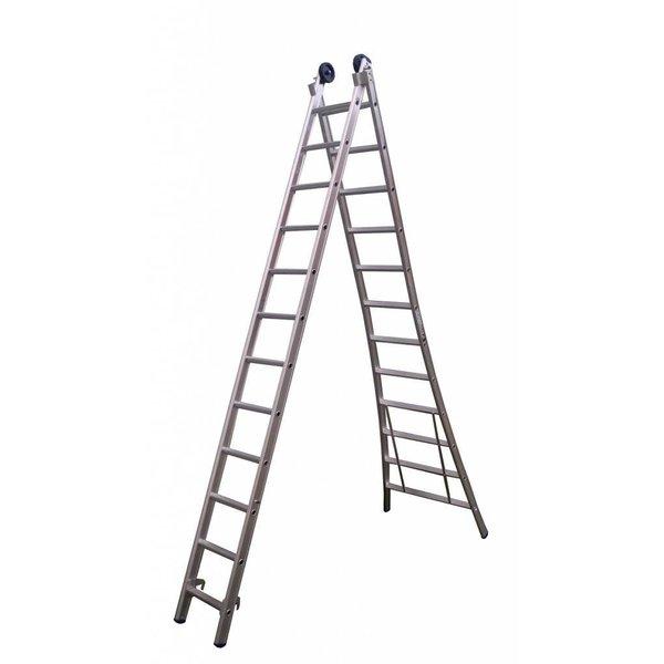 Maxall Tweedelige ladder 2x8 Maxall geanodiseerd I 4.50 meter