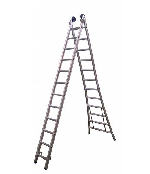 Maxall Tweedelige ladder 2x10 Maxall geanodiseerd