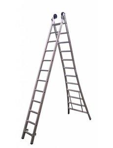 Maxall Tweedelige ladder 2x12 Maxall geanodiseerd I 6.50 meter
