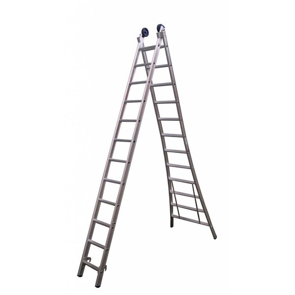 Tweedelige ladder 2x14 Maxall blank I 7.50 meter