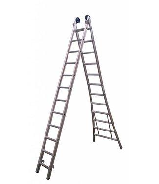 Maxall Tweedelige ladder 2x14 Maxall geanodiseerd