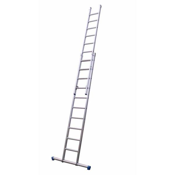 Maxall Tweedelige ladder 2x14 Maxallrecht met stabiliteitsbalk I 7.50 meter