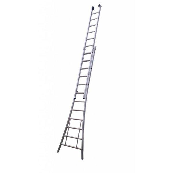 Maxall Tweedelige ladder 2x16 Maxall geanodiseerd I 8.50 meter
