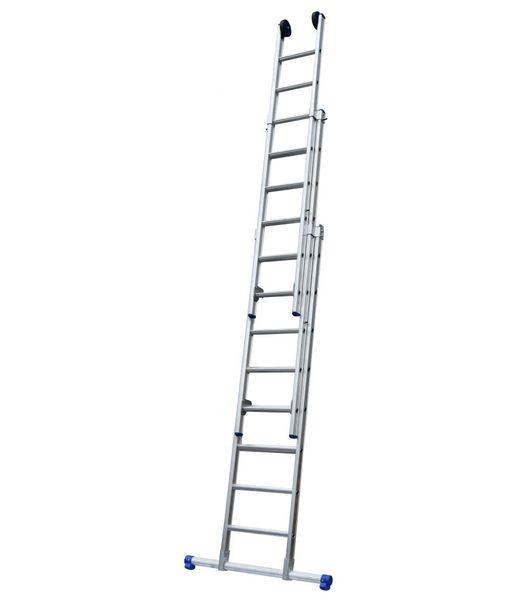 Maxall Driedelige ladder 3x12 Maxall recht met stabiliteitsbalk