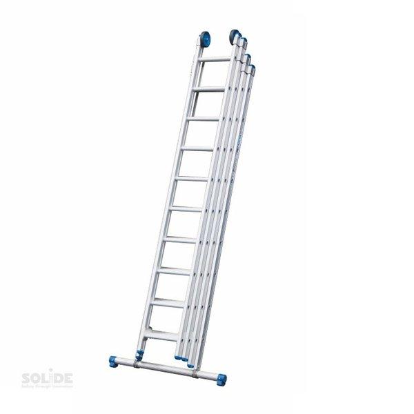 Vierdelige ladder 4x8 recht met stabiliteitsbalk