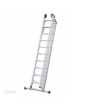Vierdelige ladder 4x10 recht met stabiliteitsbalk