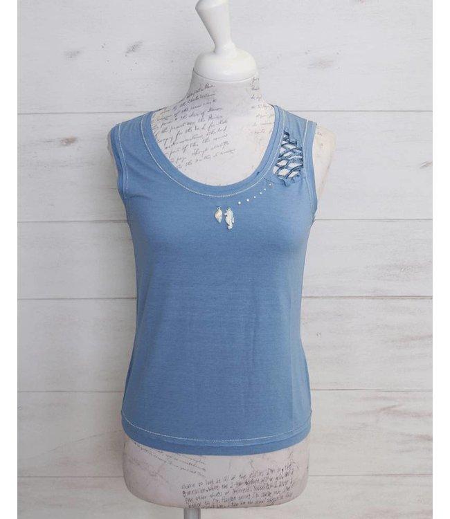 Elisa Cavaletti Basic top light blue