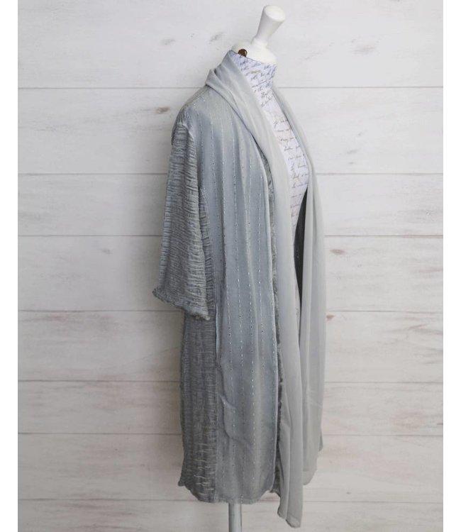 Elisa Cavaletti Long basic jacket light grey
