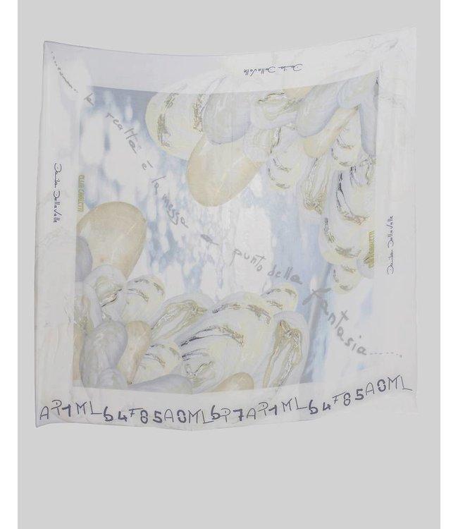 Elisa Cavaletti Foulard en soie bleu-beige
