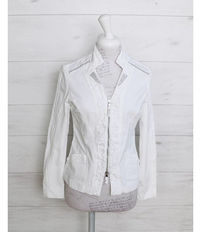 Elisa Cavaletti Short denim jacket white
